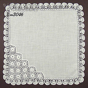 WHITE HANKY WITH FANCY CROCHET CORNER AND EDGE