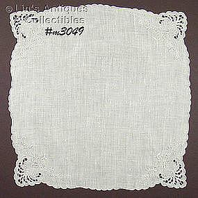 WHITE MADEIRA WEDDING HANDKERCHIEF