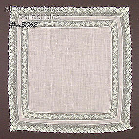 PALE PINK HANDKERCHIEF WITH LACE