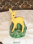 SHAWNEE POTTERY VINTAGE YELLOW FAWN AND GREEN STUMP PLANTER