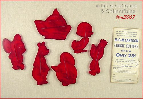 M-G-M CARTOON COMPLETE SET OF 6 VINTAGE DATED 1956 COOKIE CUTTERS