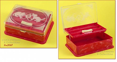 VINTAGE HOMMER SEWING BOX RED BOTTOM WITH KITTENS ON CLEAR LID
