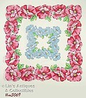 VINTAGE RED AND BLUE POPPIES HANDKERCHIEF