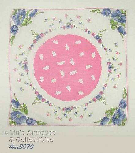 VINTAGE HANDKERCHIEF WITH BLUE POPPIES AND PINK FLOWERS