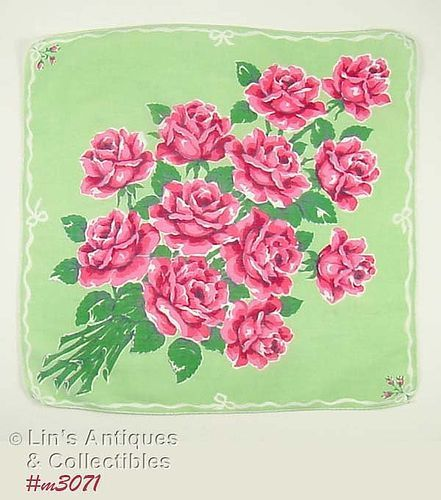 VINTAGE HANDKERCHIEF WITH BOUQUET OF ONE DOZEN PINK ROSES