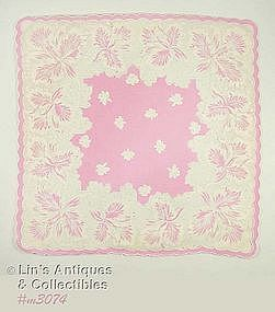 VINTAGE WHITE ORCHIDS ON PINK HANDKERCHIEF
