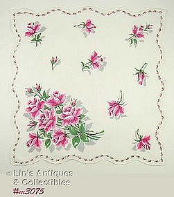 VINTAGE PINK ROSES AND ROSEBUDS HANDKERCHIEF