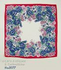 VINTAGE HANDKERCHIEF WITH BLUE POPPIES AND LOTS OF BUTTERFLIES