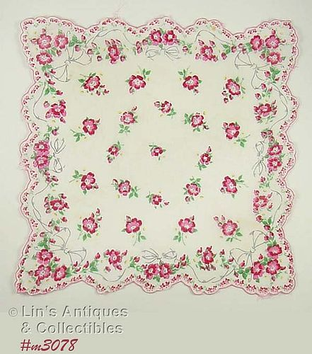 VINTAGE HANDKERCHIEF WITH RIBBONS AND PINK FLOWERS
