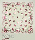 HANDKERCHIEF WITH RIBBONS AND PINK FLOWERS