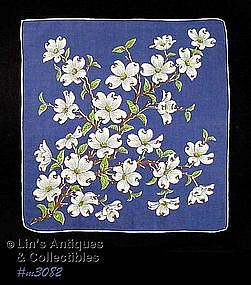 NAVY BLUE HANDKERCHIEF WITH WHITE DOGWOOD BLOOMS