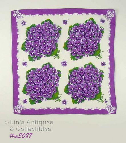 VINTAGE HANDKERCHIEF WITH 4 LARGE BOUQUETS OF PURPLE VIOLETS