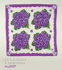 VINTAGE HANKY HANDKERCHIEF WITH 4 LARGE BOUQUETS OF PURPLE VIOLETS