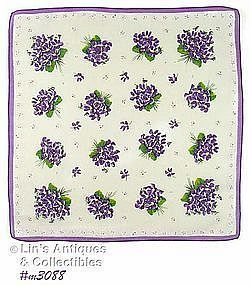 VINTAGE HANDKERCHIEF WITH LOTS OF PURPLE VIOLET BOUQUETS