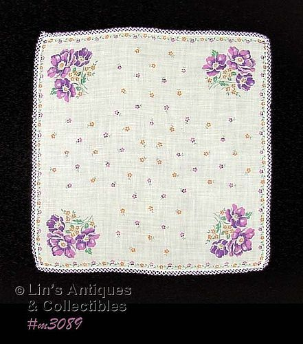 VINTAGE HANDKERCHIEF WITH PURPLE POPPIES AND TATTING EDGING