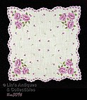 VINTAGE SCALLOPED EDGE HANDKERCHIEF WITH PURPLE POPPIES