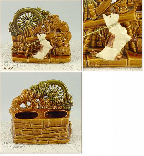 McCOY POTTERY SPINNING WHEEL WITH CAT AND DOG PLANTER