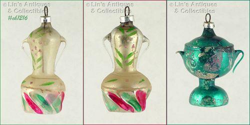 FREE BLOWN GLASS URN ORNAMENTS (2)
