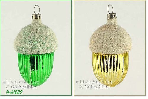 TWO GLASS ACORN ORNAMENTS MADE IN CZECHOSLOVAKIA