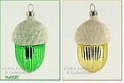 TWO GLASS ACORN ORNAMENTS (CZECH)
