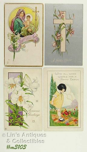 LOT OF FOUR VINTAGE EASTER POSTCARDS