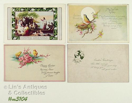 LOT OF FOUR VINTAGE EASTER GREETINGS POSTCARDS