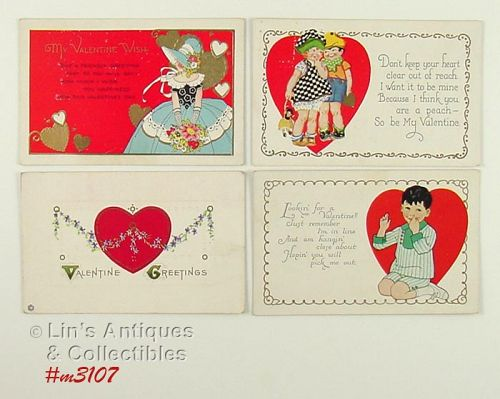 LOT OF FOUR VINTAGE VALENTINE POSTCARDS