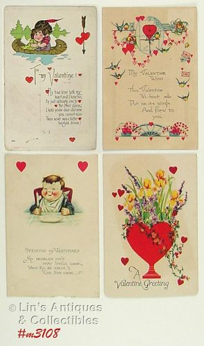 FOUR VALENTINE POSTCARDS