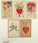 LOT OF FIVE VINTAGE VALENTINE POSTCARDS