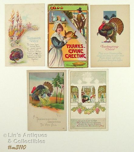 LOT OF FIVE VINTAGE THANKSGIVING POSTCARDS WITH 1913 AND 1923 DATES