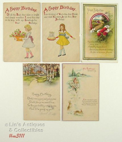 LOT OF FIVE BIRTHDAY GREETINGS POSTCARDS 1917 1921