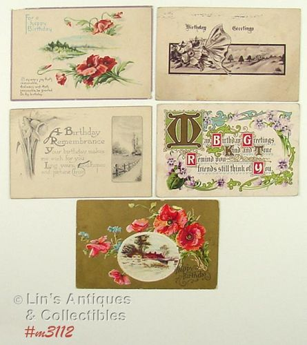 LOT OF FIVE VINTAGE BIRTHDAY POSTCARDS 1909 1910 1914 1919
