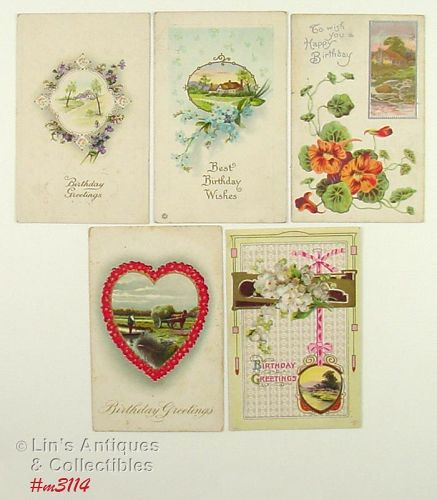 LOT OF FIVE VINTAGE BIRTHDAY POSTCARDS1916 1920