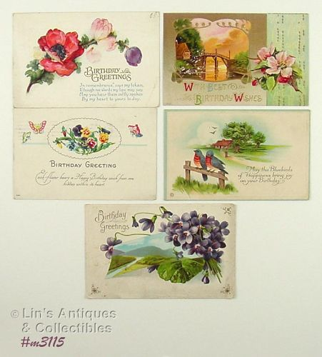 LOT OF FIVE VINTAGE BIRTHDAY POSTCARDS POSTMARKED 1903 1910 1922 1924