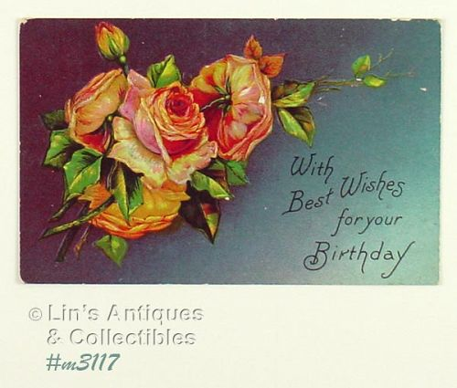 NEVER USED EXCELLENT CONDITION VINTAGE BIRTHDAY POSTCARD