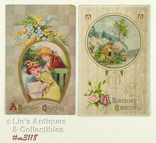 TWO BIRTHDAY POSTCARDS (1910 POSTMARKS)