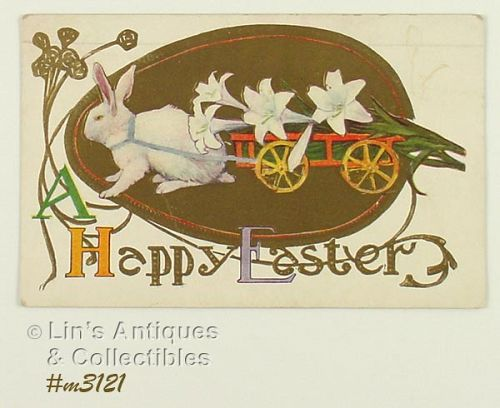 VINTAGE BUNNY PULLING A CART HAPPY EASTER POSTCARD