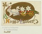 VINTAGE BUNNY PULLING A CART HAPPY EASTER POSTCARD POSTMARKED 1923