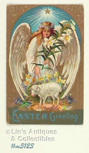 vINTAGE EASTER POSTCARD WITH ANGEL POSTMAKED 1909