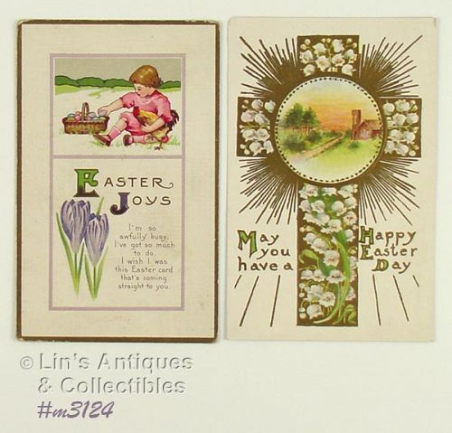 LOT OF TWO VINTAGE EASTER POSTCARDS