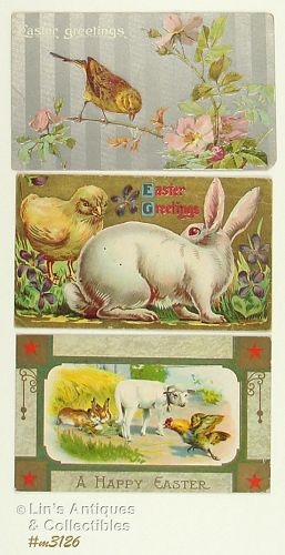 LOT OF THREE VINTAGE EASTER POSTCARDS