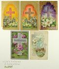 LOT OF FIVE VINTAGE EASTER POSTCARDS WITH CROSSES AND FLOWERS