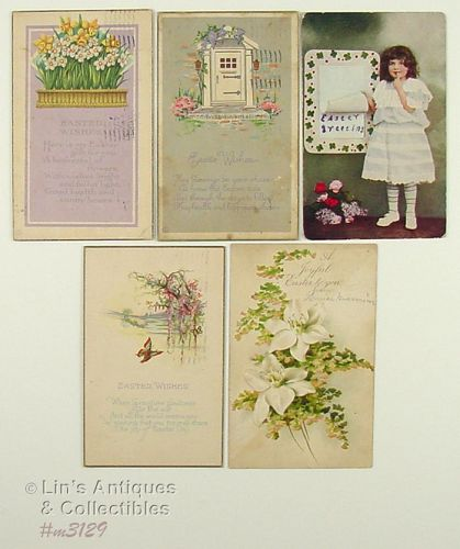 LOT OF FIVE VINTAGE EASTER POSTCARDS