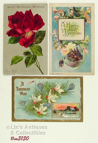 LOT OF THREE VINTAGE BIRTHDAY POSTCARDS 1914 1923