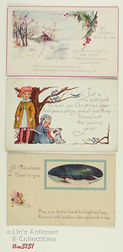LOT OF THREE VINTAGE CHRISTMAS POSTCARDS