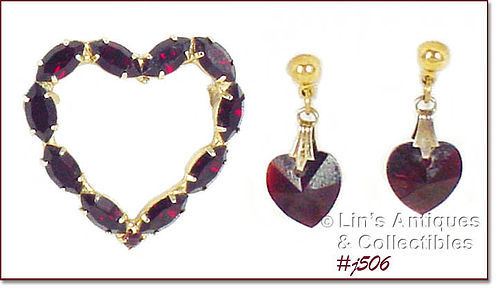 VINTAGE DARK RED RHINESTONES HEART PIN AND HEART EARRINGS