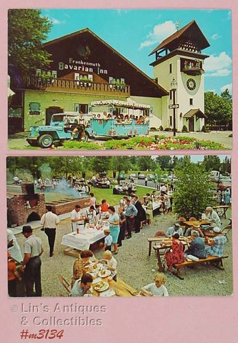 LOT OF TWO SOUVENIR POSTCARDS FRANKENMUTH BAVARIAN INN