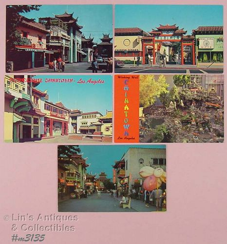LOT OF 5 SOUVENIR POSTCARDS CHINATOWN LOS ANGELES