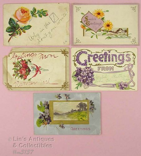 FIVE ASSORTED VINTAGE POSTCARDS
