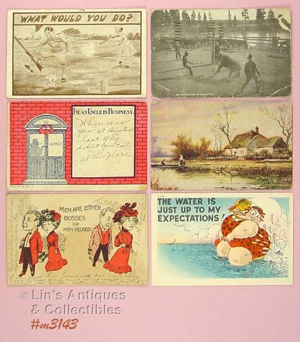 LOT OF SIX ASSORTED POSTCARDS DATES 1907 1952 AND MORE